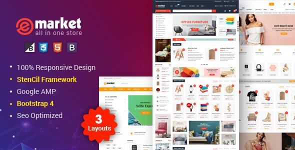eMarket -Responsive Multipurpose StenCil BigCommerce Theme with Advanced Theme Option