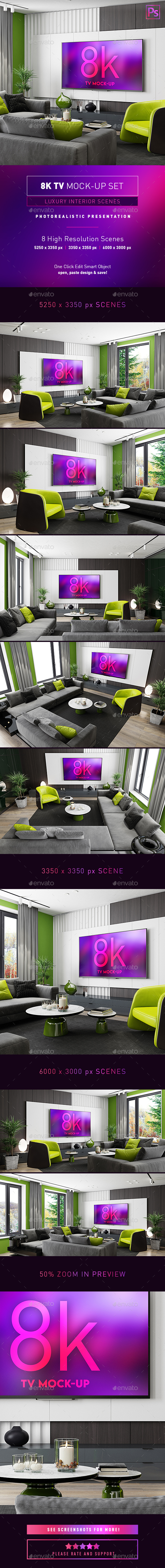 8k TV Mock-Up Luxury Interior Scenes