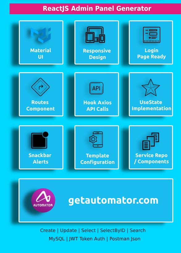 Easy ReactJS Application Generator + REST API Generator - NodeJS MySQL CRUD REST API With JWT Token