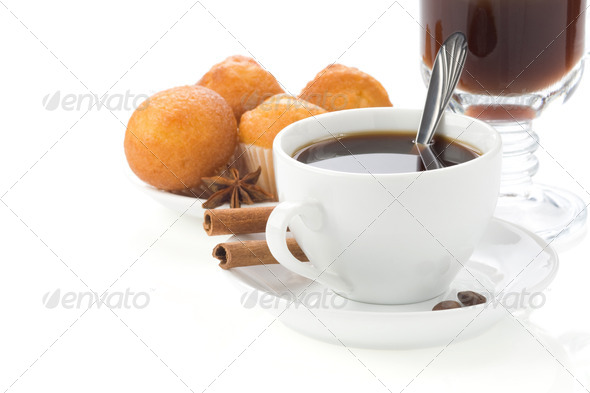 cup of coffee with beans isolated on white - Stock Photo - Images