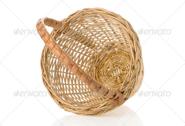 wicker basket isolated on white - Stock Photo - Images