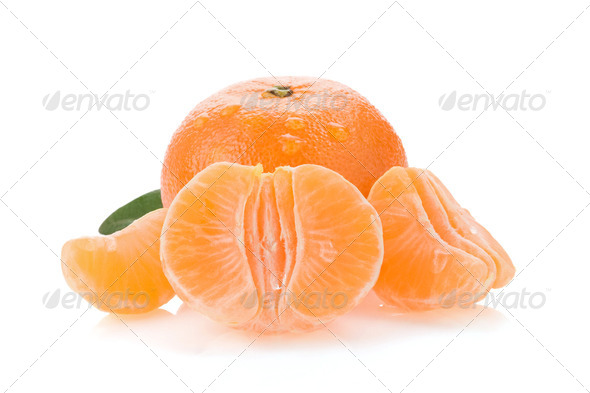 tangerine orange fruit and slices isolated on white - Stock Photo - Images