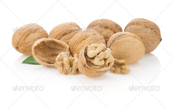 walnuts isolated on white - Stock Photo - Images