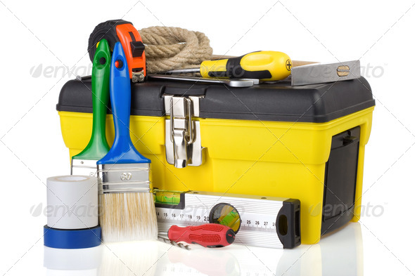 construction toolbox and tools isolated on white - Stock Photo - Images
