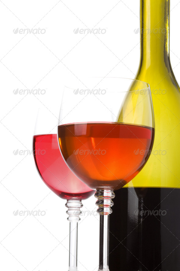 wine in glass isolated on white - Stock Photo - Images