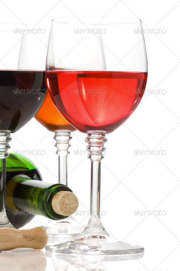wine in glass fruit isolated on white - Stock Photo - Images