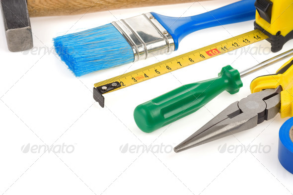 set of tools isolated on white - Stock Photo - Images