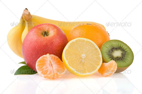 fresh fruits and slices isolated on white - Stock Photo - Images