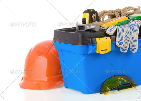 set of tools on toolbox isolated at white - Stock Photo - Images