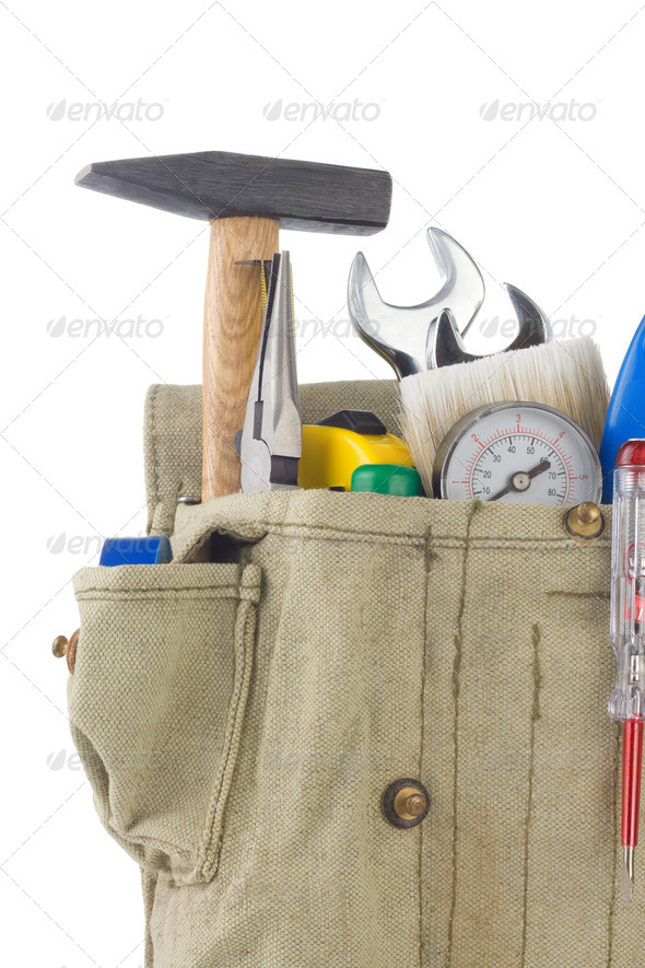 set of tools in bag box isolated on white - Stock Photo - Images