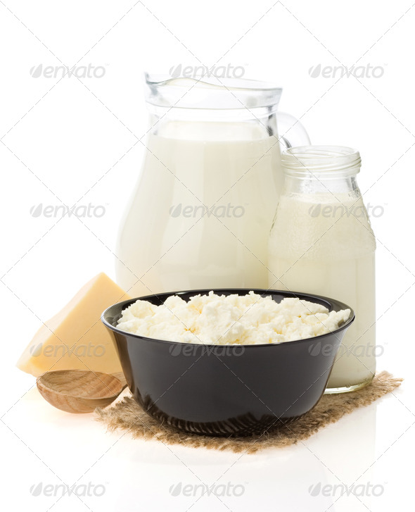 cheese and milk products isolated on white - Stock Photo - Images