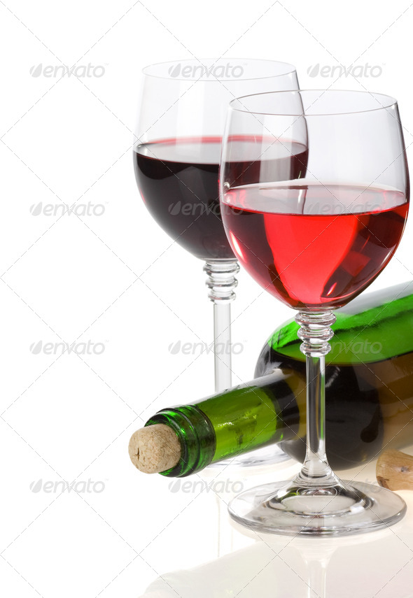 wine in glass and bottle isolated on white - Stock Photo - Images