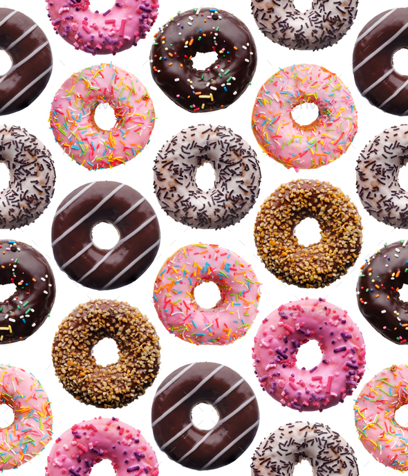 Set of assorted donuts, seamless pattern - Stock Photo - Images