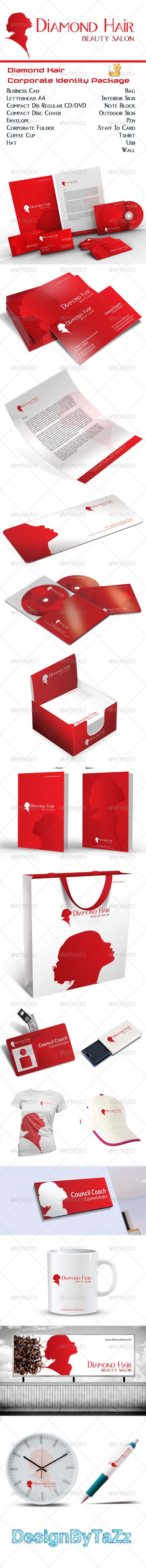 Diamond Hair Corporate Identity Package - Stationery Print Templates