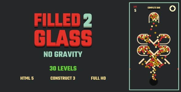 Filled Glass 2 No Gravity - HTML5 Game (Construct3)