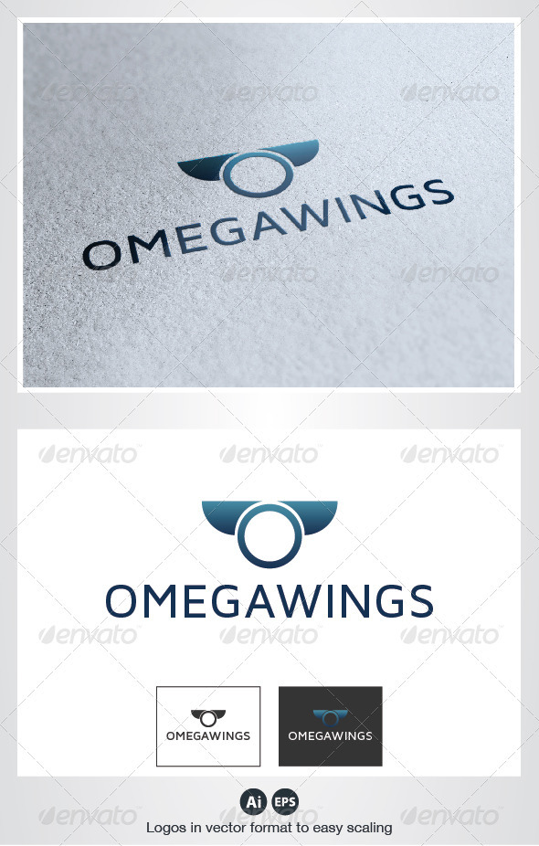 Omega Wings Logo - Letters Logo Templates