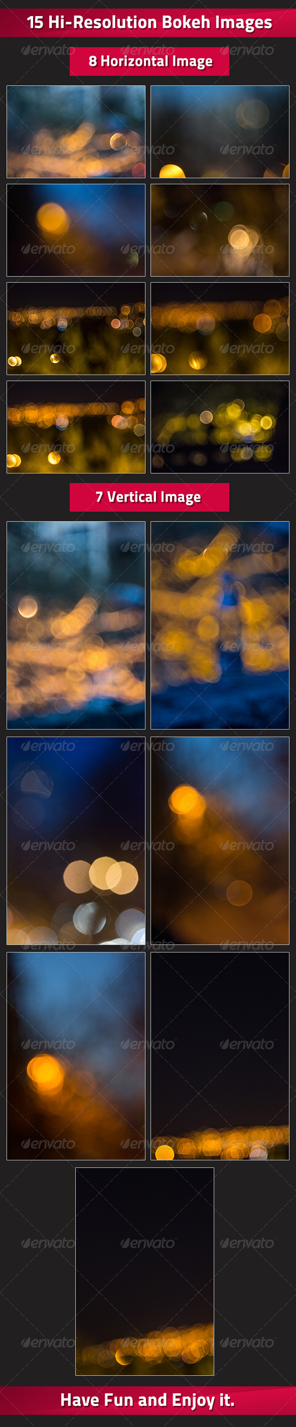 Set of 15 Bokeh Images - Abstract Backgrounds