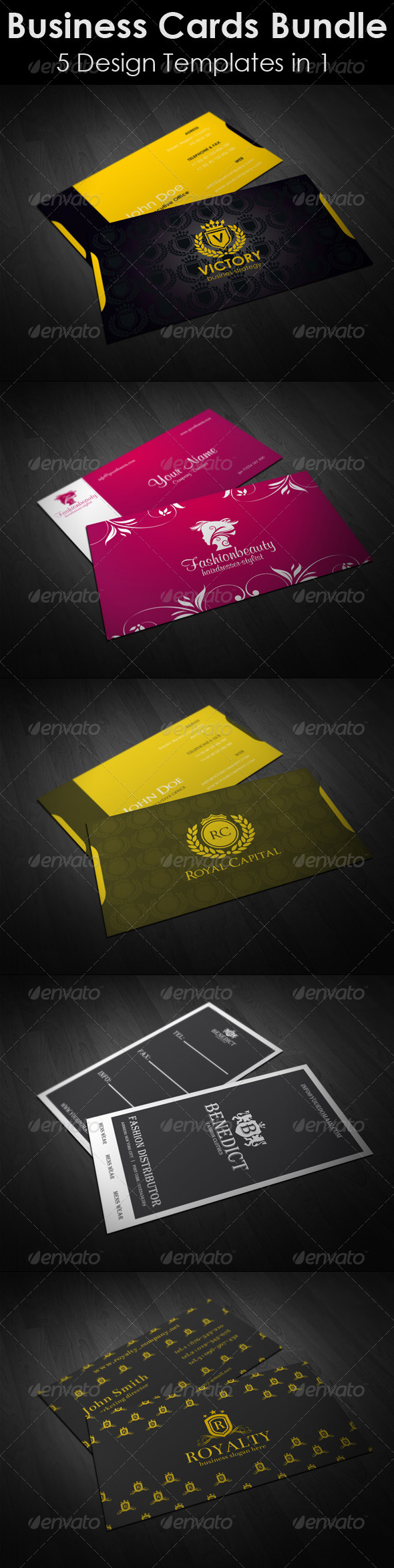 Business-Cards-Bundle. 5 in 1 - Business Cards Print Templates