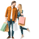 couple holding colorful shopping bags and looking at each other isolated on white - PhotoDune Item for Sale