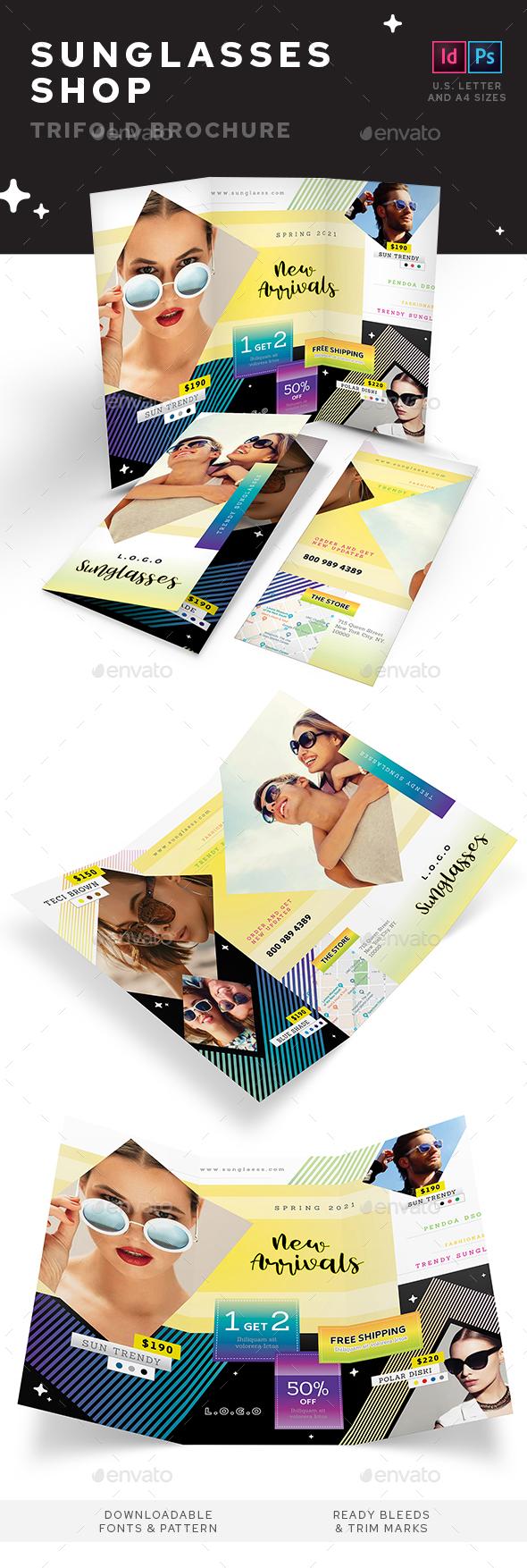 Sunglasses Shop Trifold Brochure