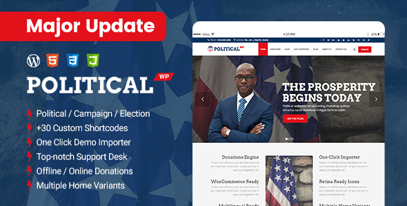 Exceptional PoliticalWP - Political Campaign WordPress Theme