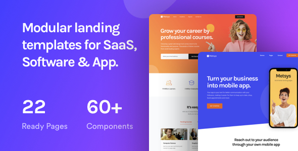 Metsys - Landing Page Template for SaaS, Startup & Agency