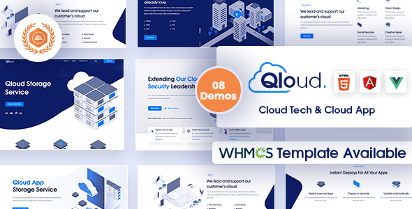 Qloud - Cloud Computing, Apps & Server HTML, WHMCS, Vue & Angular Template