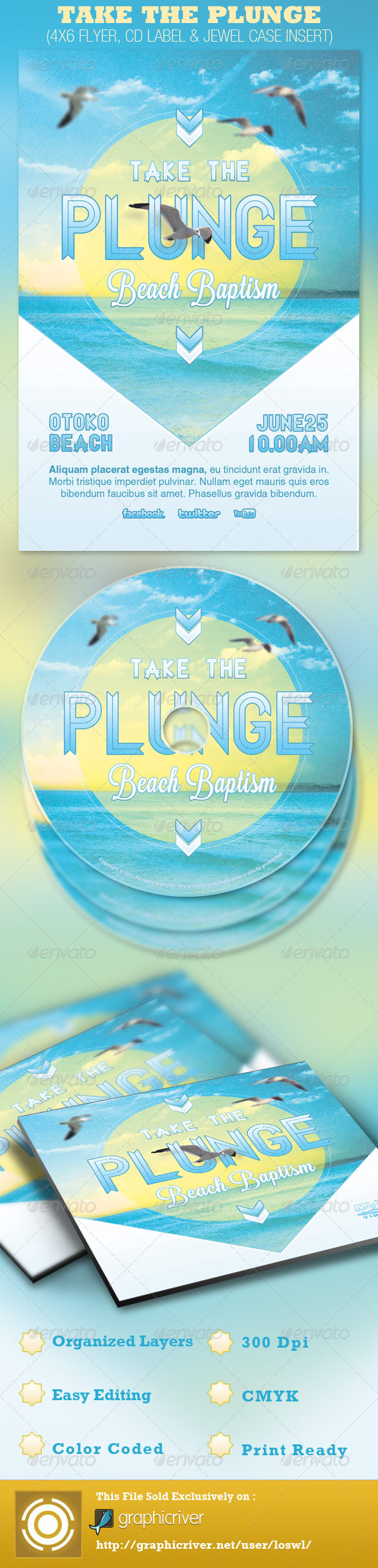 Take the Plunge Church Flyer and CD Template - Church Flyers