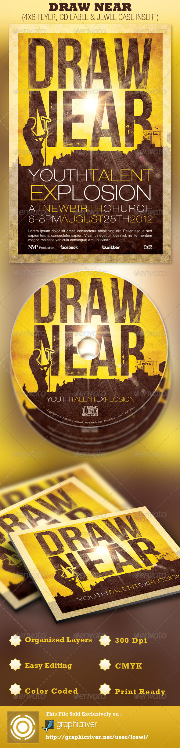 Draw Near Church Event Flyer and CD Template - Church Flyers