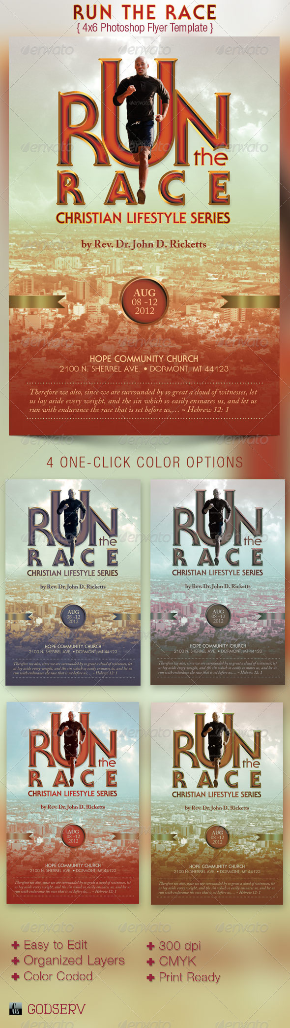 Run Race Church Flyer Template - Church Flyers
