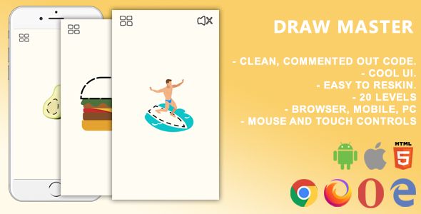 Draw Master. Mobile, Html5 Game .c3p (Construct 3)