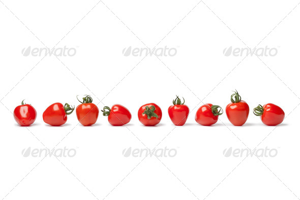 Strawberry tomatoes in a row - Stock Photo - Images