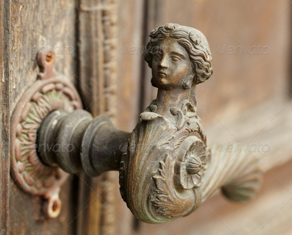 Vintage door handle - Stock Photo - Images