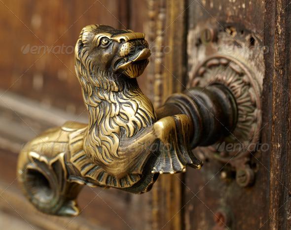 Vintage door handle - Stock Photo - Images