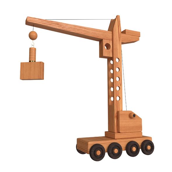 Construction crane wooden toy