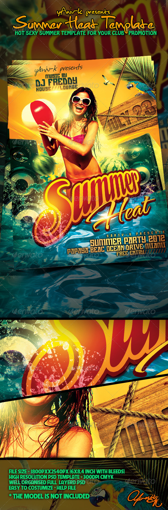 Summer Heat  Flyer Template - Clubs & Parties Events