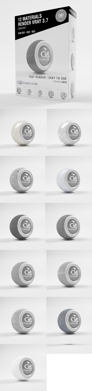 12 Concret Materials VRAY 3.7 C4D R20 / R21 / R22 / R23
