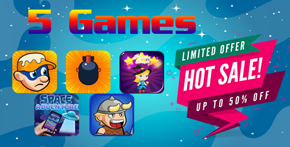 5 Games Html5 Bundle - 50% Discount $108 For $54