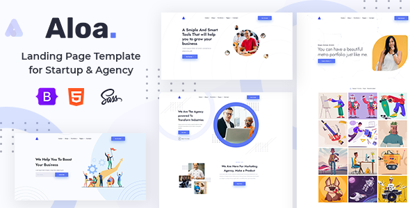 Aloa - Landing Page Template for Startup & Agency + RTL