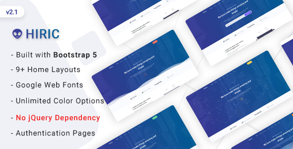 Excellent Hiric - Bootstrap 5 Landing Page Template