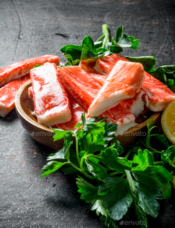 Crab sticks with parsley. - Stock Photo - Images