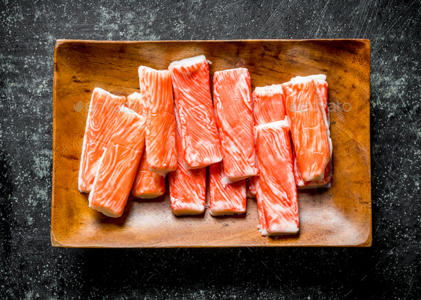 Crab sticks on a plate. - Stock Photo - Images