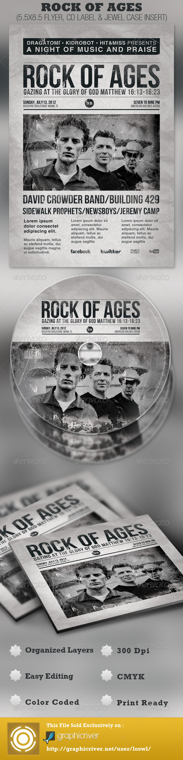 Rock of Ages Church Flyer and CD Template - Church Flyers