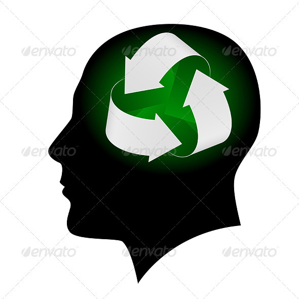 Ecology symbol in human head - Abstract Conceptual