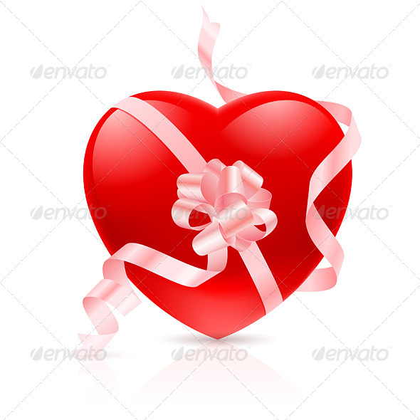 Red Heart with ribbon - Valentines Seasons/Holidays