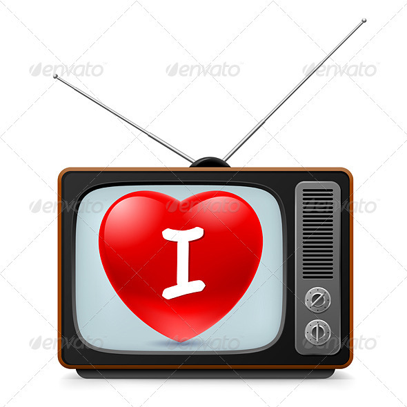 TV set with Heart - Man-made Objects Objects