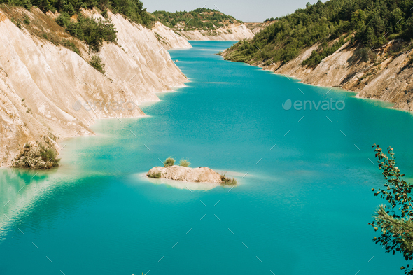 Volkovysk chalk pits or Belarusian Maldives beautiful saturated blue lakes. Famous chalk quarries - Stock Photo - Images