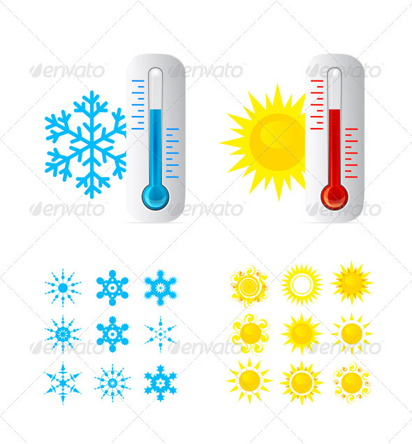 Thermometer Vector Set  - Objects Vectors
