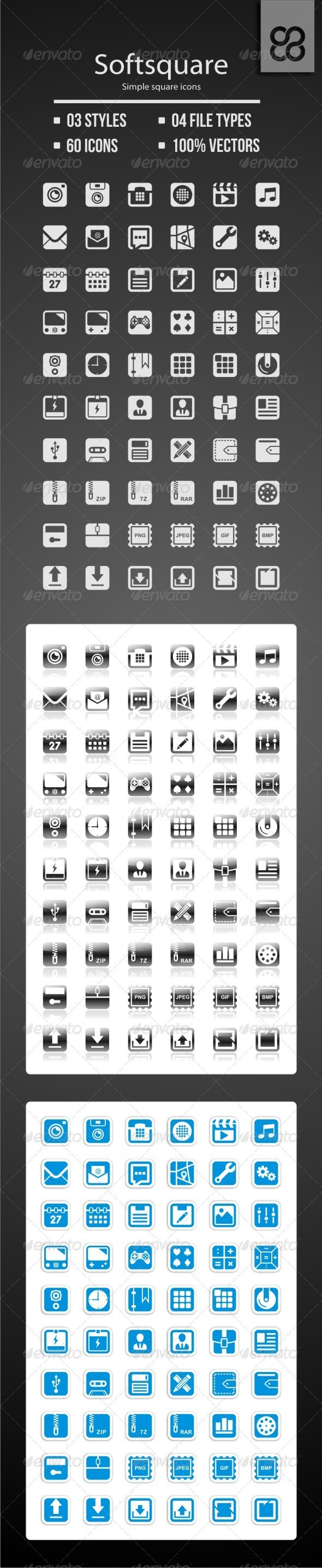 Softsquare - Simple Square Icons - Web Icons