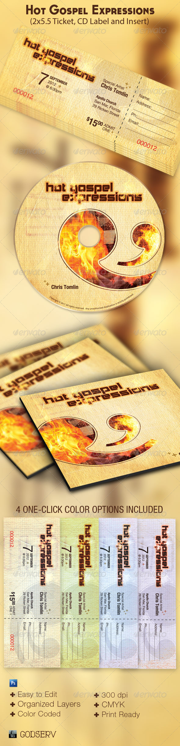 Hot Gospel Concert Ticket CD Template - Miscellaneous Print Templates